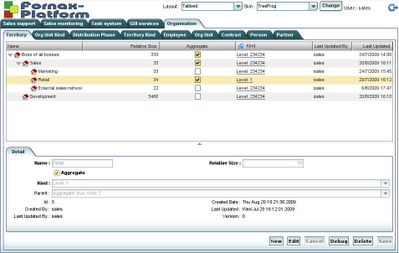 Screenshot of Smartclient GUI