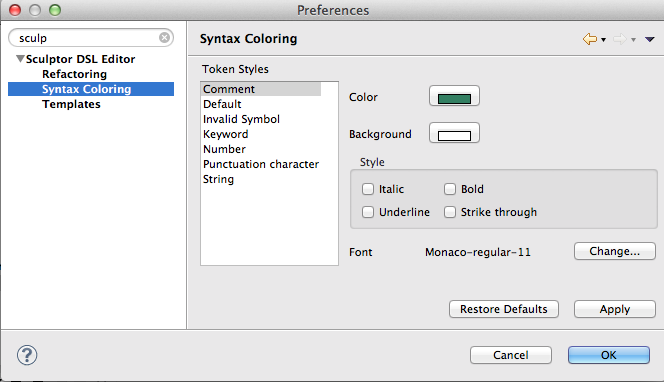 Preferences Syntax Coloring